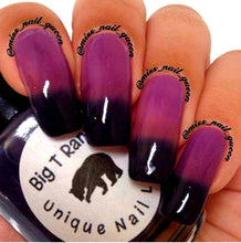 "Load image into Gallery viewer, Color Changing Thermal Nail Polish - Ombre Purple/Pink-Red/Blue-Black - Glows Violet - ""Black Canyon""- Gift for Her - Girlfriend Gift"