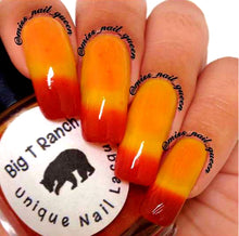 "Load image into Gallery viewer, Color Changing Thermal Nail Polish - Ombre Red/Orange/Yellow - Glows Yellow/Orange - ""Great Sand Dunes"" - Gift for Her - Girlfriend Gift"