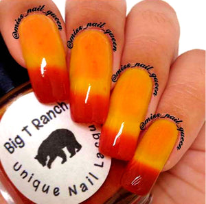 "Color Changing Thermal Nail Polish - Ombre Red/Orange/Yellow - Glows Yellow/Orange - ""Great Sand Dunes"" - Gift for Her - Girlfriend Gift"