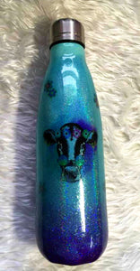 Cow Holographic Glitter  Thermal Bottle - Peace, Love, Cows - Mint and Purple - Retro Flowers - 17 oz - Insulated - Stainless Steel