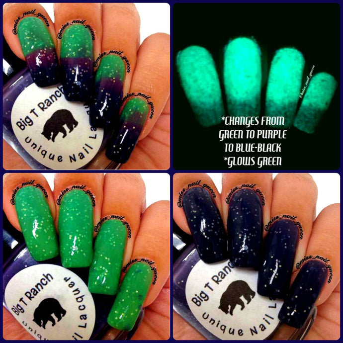 Color Changing Thermal Glitter Nail Polish - Ombre Green/Purple/Blue-Black - Glows Green -