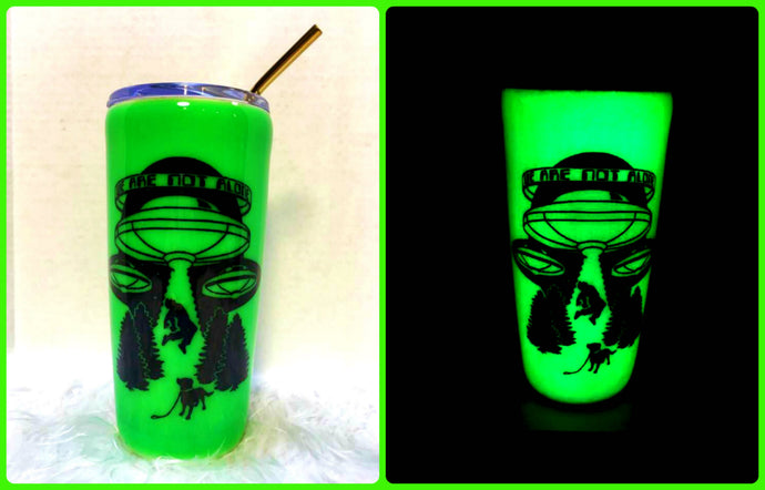 Alien UFO Glow in the Dark Green Tumbler Cup Stainless Steel with Straw - Insulated - Optional UV Flashlight - 20 oz - Teen Gift - Space