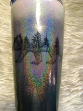 Load image into Gallery viewer, Bear Trees Silhouette Holographic Glitter Tumbler - Silver, Grey, Black - Insulated - 20 oz - Outdoors, Wilderness, Cabin, Lodge, Rustic