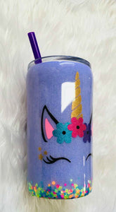 Unicorn Personalized Name Holographic Glitter Lavender Cup Stainless Steel with Straw - Insulated - Gift for Girl - 12 oz - FREE SHIPPING