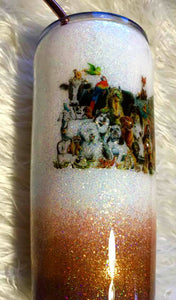 All Things Great and Small Animal Holographic Glitter Tumbler Cup - Vet Gift - Dog, Cat, Goat, Cow, Horse, Farm, Animal Lover Gift - 20 oz