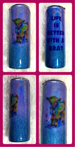 Nigerian Dwarf Goat Kid Holographic Glitter Tumbler - Dairy Goat - Life is Better With a Goat - Insulated - 4-H - 20 oz - FREE SHIPPING