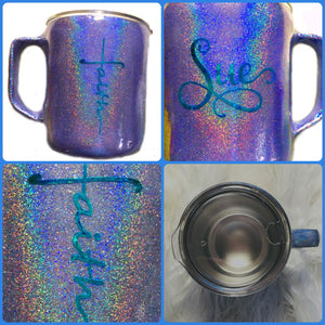 Faith Personalized Holographic Coffee Mug with Lid and Handle - Stainless Steel - Purple - 14 oz - Gift for Mom, Pastor - FREE SHIPPING