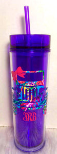Acrylic Tumbler with Lid, Straw and Decal of Your Choice - You Choose Color - 16 oz, Double Wall - Monogrammed Cup, Cup with Lid, Tumbler