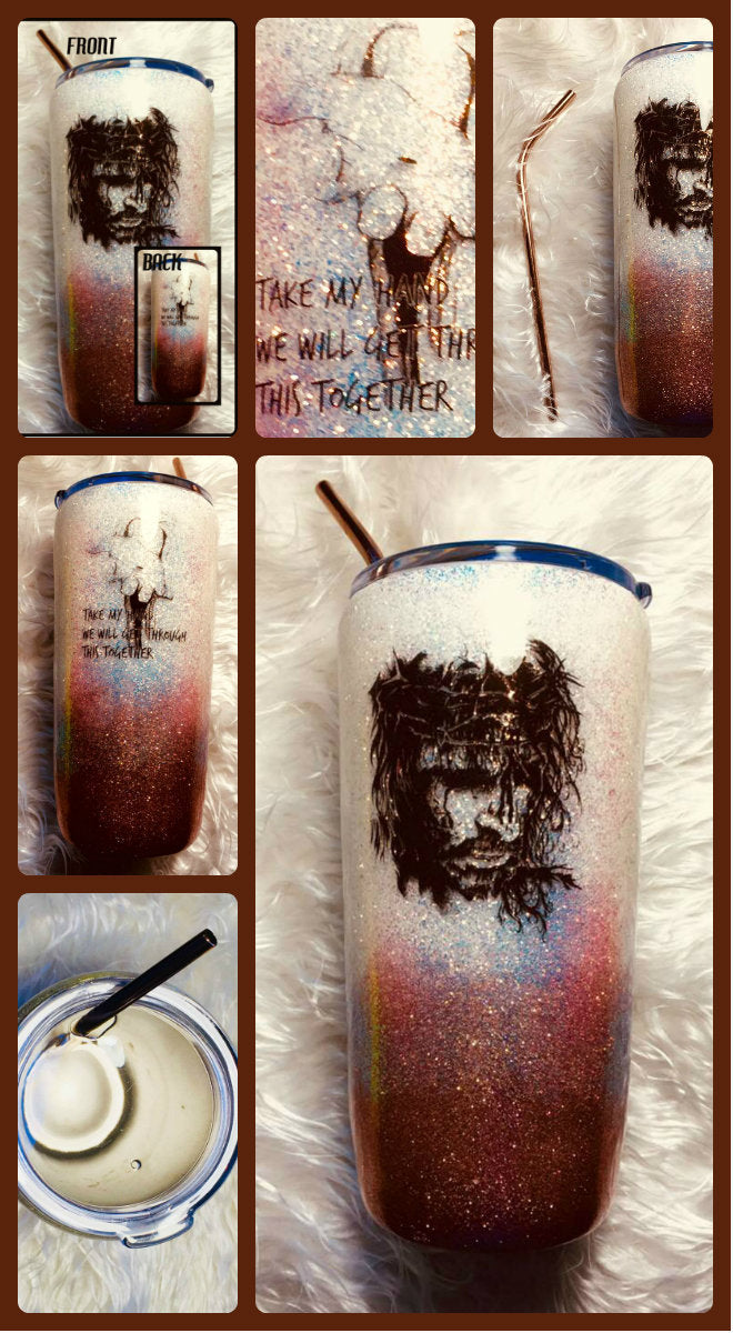 Tumbler Jesus Bible Verse Holographic Glitter Tumbler Cup Stainless Steel with Straw - Insulated - Gift for Woman - 20 oz - FREE SHIPPING