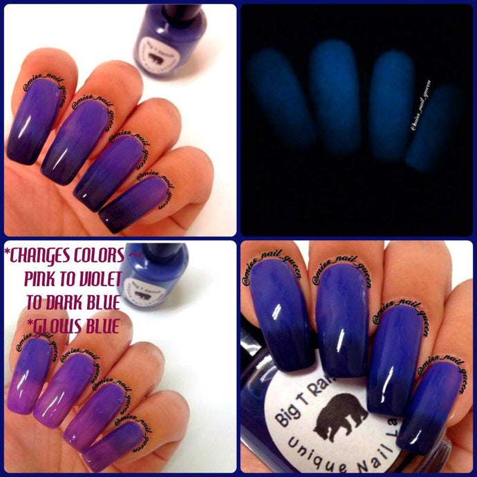 Color Changing Thermal Nail Polish - Ombre Pink to Violet to Dark Blue - Glows Blue -