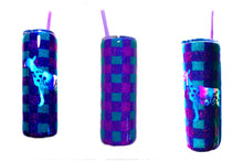 Load image into Gallery viewer, Buffalo Plaid Nigerian Dwarf Dairy Goat Flower Cutout Holographic Glitter Tumbler - Purple and Teal - Insulated - Gift for Mom - 20 oz