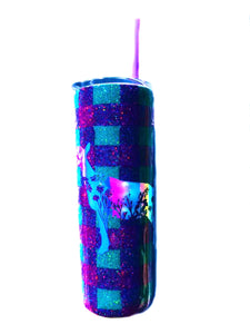 Buffalo Plaid Nigerian Dwarf Dairy Goat Flower Cutout Holographic Glitter Tumbler - Purple and Teal - Insulated - Gift for Mom - 20 oz