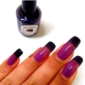 "Color Changing Thermal Nail Polish - Ombre Purple/Pink-Red/Blue-Black - Glows Violet - ""Black Canyon""- Gift for Her - Girlfriend Gift"
