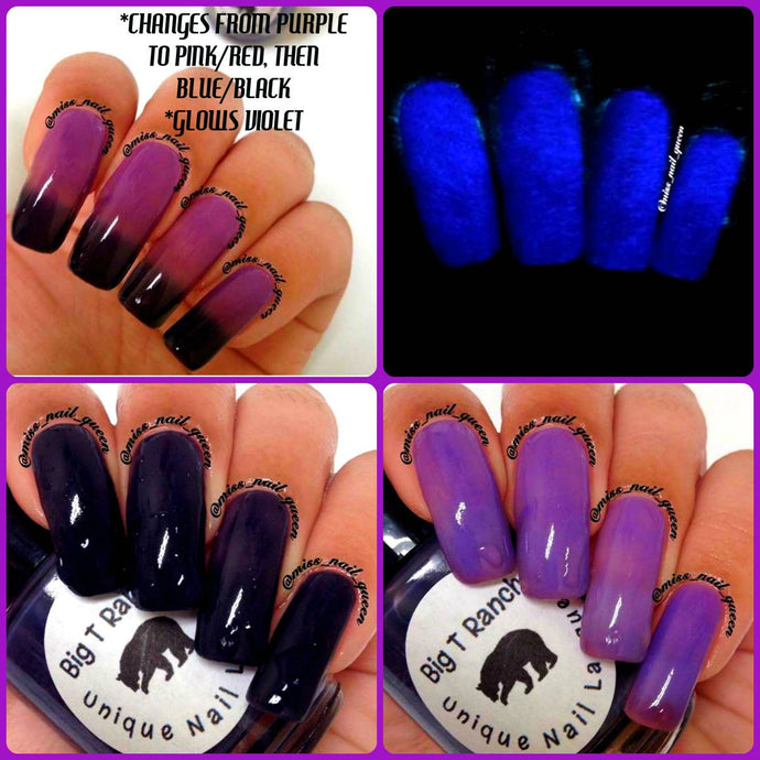 Color Changing Thermal Nail Polish - Ombre Purple/Pink-Red/Blue-Black - Glows Violet -