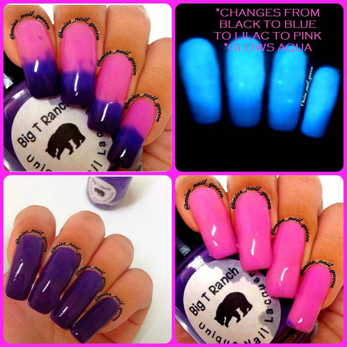 Color Changing Thermal Nail Polish - Ombre Pink/Lilac/Blue/Black- Glows Aqua -