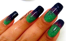 "Load image into Gallery viewer, Color Changing Thermal Glitter Nail Polish - Ombre Green/Purple/Blue-Black - Glows Green - ""Peak 8""- Gift for Her - Mood Nail Polish"