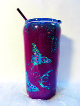 Load image into Gallery viewer, Butterfly Tumbler Holographic Teal and Purple Glitter Cup Stainless Steel with Straw - Insulated - Gift for Woman - 20 oz - FREE SHIPPING