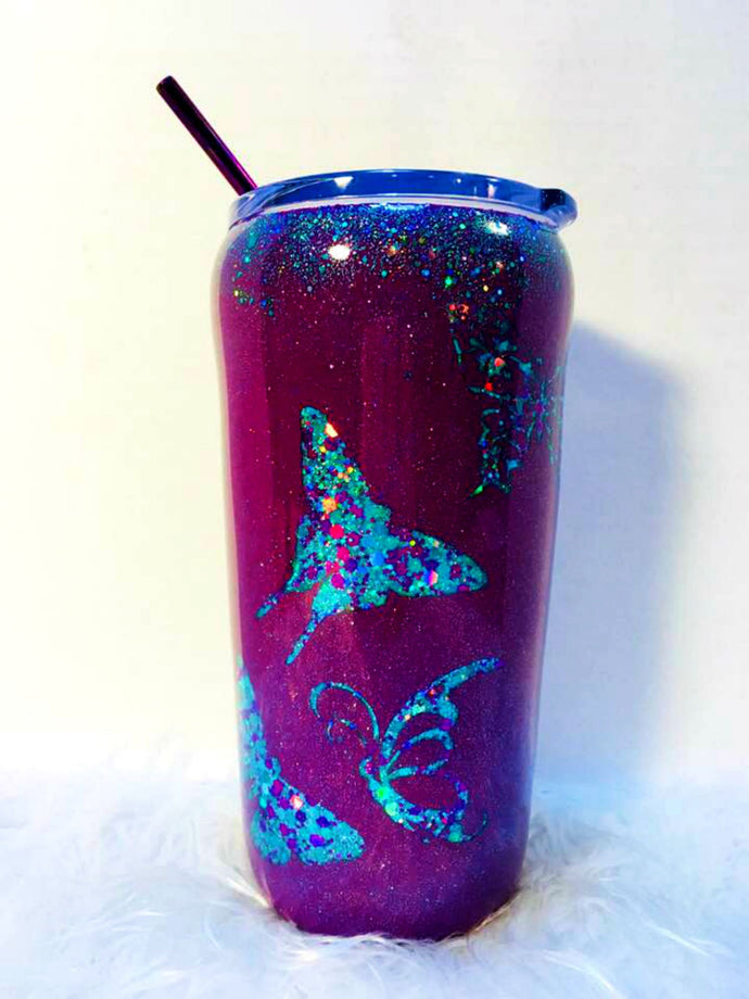 Butterfly Tumbler Holographic Teal and Purple Glitter Cup Stainless Steel with Straw - Insulated - Gift for Woman - 20 oz - FREE SHIPPING