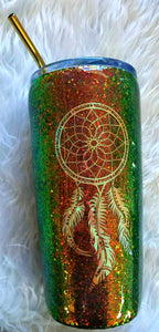 Dream Catcher Holographic Color Shifting Rust Brown Green Glitter Tumbler Cup Stainless Steel with Straw - Insulated - 20 oz