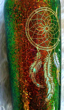 Load image into Gallery viewer, Dream Catcher Holographic Color Shifting Rust Brown Green Glitter Tumbler Cup Stainless Steel with Straw - Insulated - 20 oz