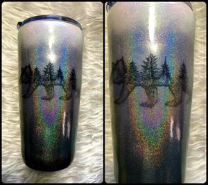 Bear Trees Silhouette Holographic Glitter Tumbler - Silver, Grey, Black - Insulated - 20 oz - Outdoors, Wilderness, Cabin, Lodge, Rustic