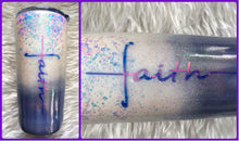 Load image into Gallery viewer, Faith Cross Holographic Glitter Tumbler - White, Purple, Blue - Christian, God, Believer Gift, Faith Tumbler - Faith Cup - Insulated - 20 oz