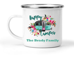 Happy Camper Personalized Mug - Gift for Mom, Grandma - Mother's Day Happy Camper Retro Camping Coffee Mug, Nature and Outdoors