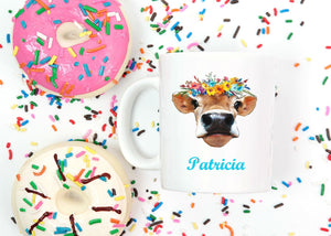 Cow with Flowers Personalized Mug - Gift for Mom, Grandma, Office Gifts, Heifer Mug, Coworker Gift, Farm Animal Mug, Cow Gifts, Coffee Mug