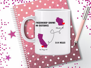 State Heart Coffee Mug - Long Distance Mug - Best Friend Gift - Mother's Day Gift - Long Distance Relationship - Cousin Gift - Sister Gift