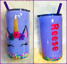 Load image into Gallery viewer, Unicorn Personalized Name Holographic Glitter Lavender Cup Stainless Steel with Straw - Insulated - Gift for Girl - 12 oz - FREE SHIPPING