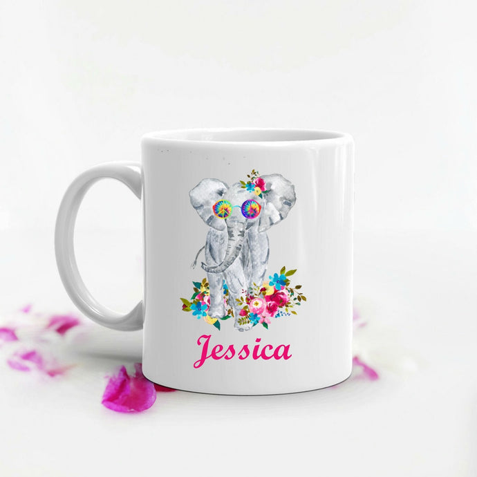 Elephant Hippie Flowers Personalized Mug - Elephant Gift, Gift for Mom, Grandma, Hippie Gift, Coffee Mug, Mother's Day, Retro, Animal Gift
