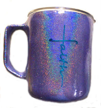 Load image into Gallery viewer, Faith Personalized Holographic Coffee Mug with Lid and Handle - Stainless Steel - Purple - 14 oz - Gift for Mom, Pastor - FREE SHIPPING