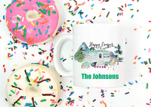 Happy Camper Personalized Mug - Gift for Mom, Grandma, Couples Gift, Mother's Day, Camper Retro Camping Coffee Mug, Nature and Outdoors