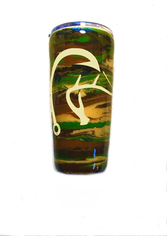 Camo Duck Deer Fish Hook Tumbler - Hunter, Hunting, Fishing - Gift for Dad - Brown, Green, Tan, Black - Insulated - 20 oz