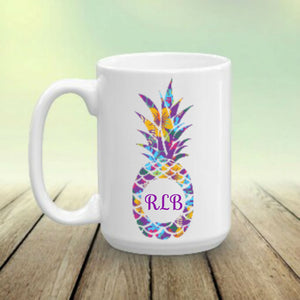 Pineapple Personalized Name Monogram Coffee Mug, Tropical Mug, Choose Pineapple Pattern and Name/Monogram, Pineapple Gift, Pineapples