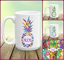 Load image into Gallery viewer, Pineapple Personalized Name Monogram Coffee Mug, Tropical Mug, Choose Pineapple Pattern and Name/Monogram, Pineapple Gift, Pineapples