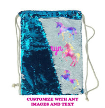 Load image into Gallery viewer, Sequin Drawstring Bag Personalized Backpack Reversible - Blue or Pink - Add a Name/Image/Photo - Sequin Gift - Mermaid Bag - Teen Girl