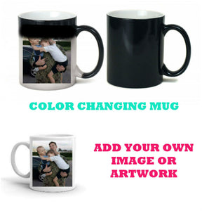 Color Changing Personalized Mug - Add Your Own Image or Artwork - Thermal Coffee Mug, 11 oz, Gift for Dad, Gift for Mom, Grandma, Coffee Mug