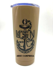 Navy Chief CPO AB Tumbler - Custom with Your Name, Rank, Unit - AB Wings - U.S. Navy - Gift for Dad - Khaki, Black - Insulated - 20 oz