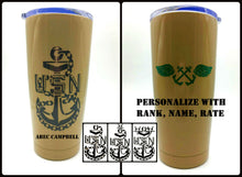 Load image into Gallery viewer, Navy Chief CPO AB Tumbler - Custom with Your Name, Rank, Unit - AB Wings - U.S. Navy - Gift for Dad - Khaki, Black - Insulated - 20 oz