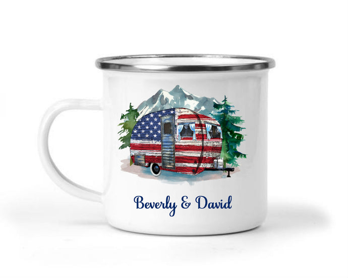 Patriotic Flag Camper Personalized Mug - Gift for Mom, Grandma, Couples Gift, Mother's Day, Retro Camping Coffee Mug, Nature and Outdoors