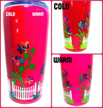 Load image into Gallery viewer, Flowers and Fence Thermal Color Changing Tumbler with Lid and Straw - Pink/Red - Mood Tumbler - Gift for Mom, Grandma - Insulated - 20 oz