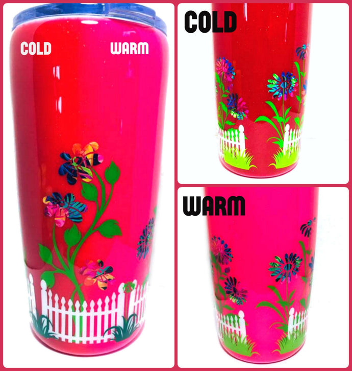 Flowers and Fence Thermal Color Changing Tumbler with Lid and Straw - Pink/Red - Mood Tumbler - Gift for Mom, Grandma - Insulated - 20 oz