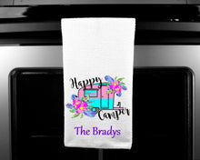 Load image into Gallery viewer, Happy Camper Oven Mitt Pot Holder Towel Gift Set Personalized, Gifts for Mom, Housewarming Gift, Hostess Gift, Wedding, Custom Kitchen Set