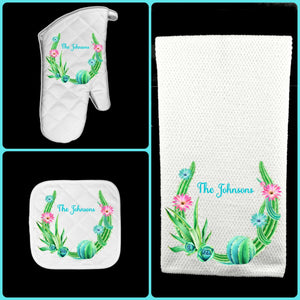 Cactus Succulent Oven Mitt Pot Holder Towel Gift Set Personalized, Gifts for Mom, Housewarming Gift.Hostess Gift.Wedding.Custom Kitchen Set
