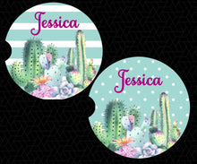 Load image into Gallery viewer, Cactus Succulents Car Coasters - Personalized - Customized - Southwest - Succulent Gift - Cacti - Custom Gift - Auto Accessories - Set of 2