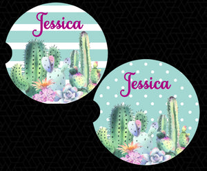 Cactus Succulents Car Coasters - Personalized - Customized - Southwest - Succulent Gift - Cacti - Custom Gift - Auto Accessories - Set of 2
