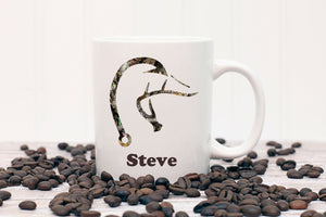 Camo Duck Deer Fish Hook Personalized Coffee Mug - Hunter, Hunting, Fishing, Fathers Day Mug, Personalized Mug, Coffee Mug for Guys