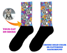 Load image into Gallery viewer, Custom Cat Photo Socks - Personalized Cat Socks - Custom Cat Birthday Gifts - Cat Lover Socks - Custom Photo Gift - Pet Photo Socks
