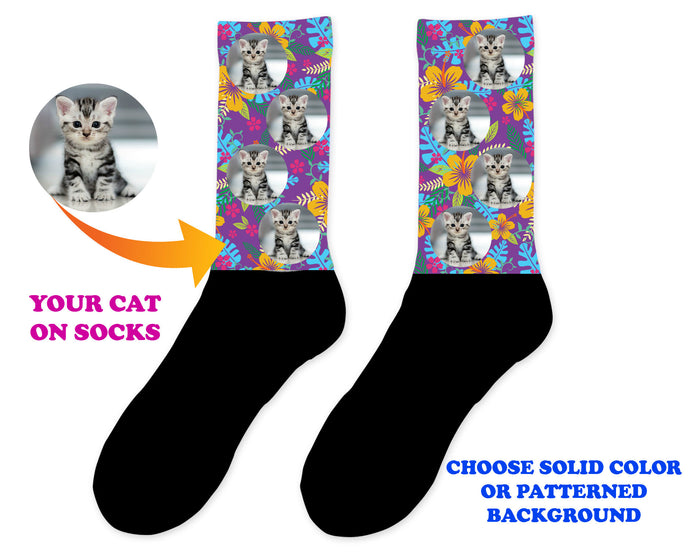 Custom Cat Photo Socks - Personalized Cat Socks - Custom Cat Birthday Gifts - Cat Lover Socks - Custom Photo Gift - Pet Photo Socks